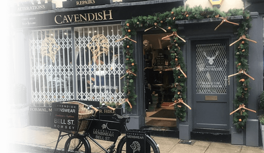Exterior photo of the Cavendish Menswear Store - With Christmas Decorations